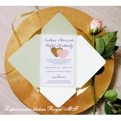 Zaproszenia ślubne Mięta-złoto