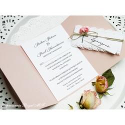 Zaproszenia ślubne Koronka-brudny róż