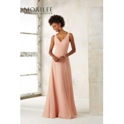 Wytworna suknia z szyfonu Mori Lee i dekoltem V - 21513