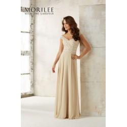 Długa suknia wieczorowa na ramiączka Mori Lee
