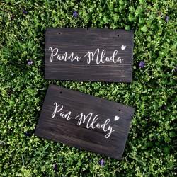 drewniane deseczki Pan Młody & Panna Młoda
