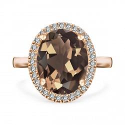 Jubilé - złoty pierścionek z kwarcem dymnym i diamentami