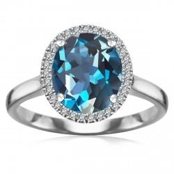Jubilé - złoty pierścionek z London B Topazem i diamentami