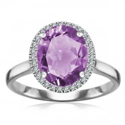 Jubilé - złoty pierścionek z ametystem i diamentami