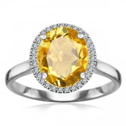 Jubilé - złoty pierścionek z cytrynem i diamentami