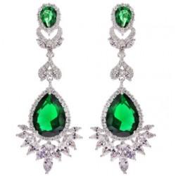 Kolczyki wieczorowe Camellia Emerald