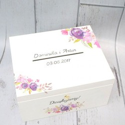 Biały kufer ślubny na kartki i koperty