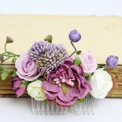 Ślubny grzebyk do włosów w odcieniach fioletu