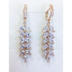 Kolczyki ślubne z kryształami GOLD LEAVES