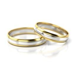 Półokrągłe złote obrączki dwukolorowe