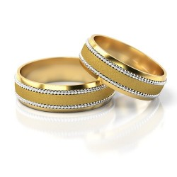 Złote półokrągłe obrączki ślubne bicolor