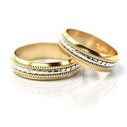 Oryginalne dwukolorowe złote obrączki linka Stelmach