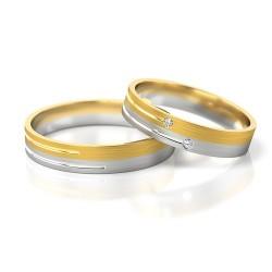 Żółte i białe złoto obrączki z cyrkoniami