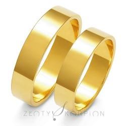 Płaskie złote obrączki ślubne Złoty Skorpion Klasyczna