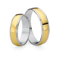 Złote dwukolorowe obrączki ślubne 585 zdobione