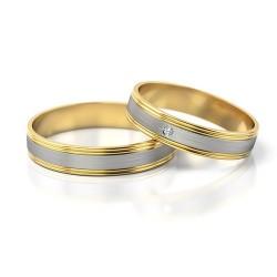 Obrączki z żółtego i białego złota z cyrkonią
