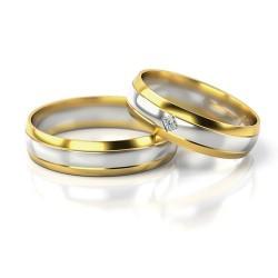 Półokrągłe obrączki dwukolorowe złoto brylant