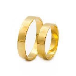 Złote klasyczne obrączki ślubne 585 płaskie