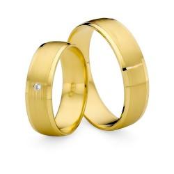 Złote matowane obrączki ślubne szerokie z cyrkonią