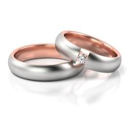 Obrączki z białego i różowego złota soczewka cyrkonia