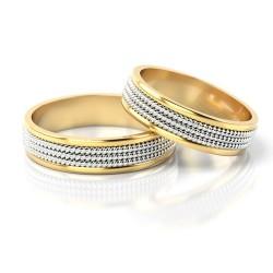 Obrączki złote plecione dwukolorowe