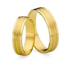 Złote matowane obrączki ślubne płaskie MARKO