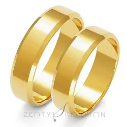 Złote obrączki ślubne płaskie fazowane brzegi Złoty Skorpion