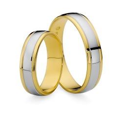 Złote dwukolorowe obrączki ślubne 585 profil płaski