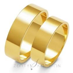 Szerokie płaskie obrączki złoto 585