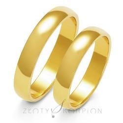 Złote obrączki ślubne półokrągłe 4mm