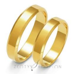 Złote obrączki ślubne płaskie fazowane boki Złoty