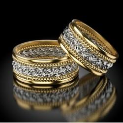 Obrączki ślubne zaplatane warkoczyk dwukolorowe