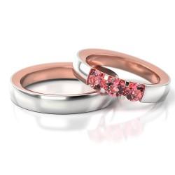Obrączki z białego i różowego złota soczewka cyrkonie