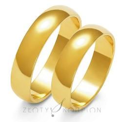 Złote obrączki ślubne półokrągłe 5mm