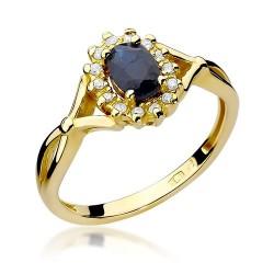 Złoty pierścionek zaręczynowy z szafirem Kultowa