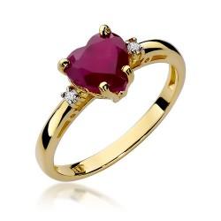 Złoty pierścionek zaręczynowy rubinowe serce z brylantami