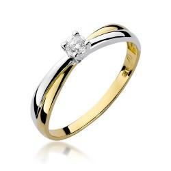 Złoty pierścionek zaręczynowy 585 z cyrkonią Klasyka