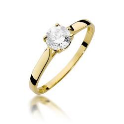 Złoty pierścionek 333 z dużą cyrkonią na zaręczyny