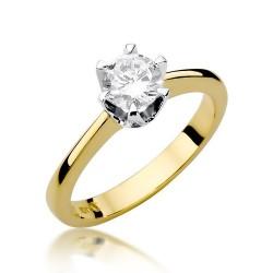 Złoty pierścionek z brylantem 1,00ct Klasyka