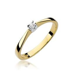 Złoty pierścionek zaręczynowy brylant 0,03ct Klasyka