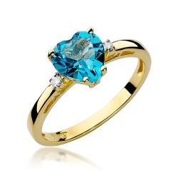 Złoty pierścionek zaręczynowy topazowe serce 1,20ct Od Serca