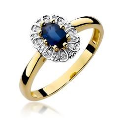 Złoty pierścionek zaręczynowy z szafirem 0,70ct i brylantami
