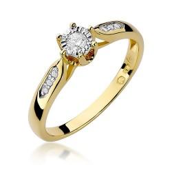 Pierścionek zaręczynowy żółte złoto z brylantami 0,11ct