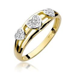 Złoty pierścionek zaręczynowy z brylantami Galaktyki