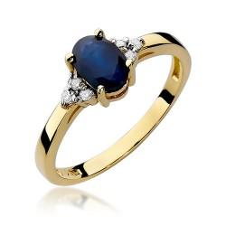 Złoty pierścionek zaręczynowy z szafirem 0,90ct i brylantami