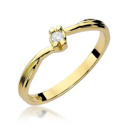 Złoty pierścionek zaręczynowy brylant 0,04ct Klasyk