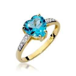 Złoty pierścionek zaręczynowy topazowe serce z brylantami