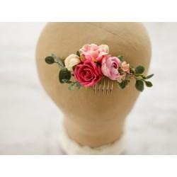 Kwiatowy grzebyczek ślubny do włosów