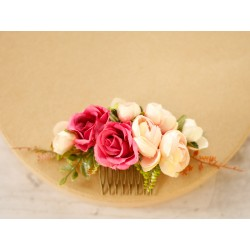 Grzebień ślubny z kwiatów - czerwień i brzoskwinia