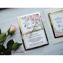Zaproszenia ślubne Gold Roses